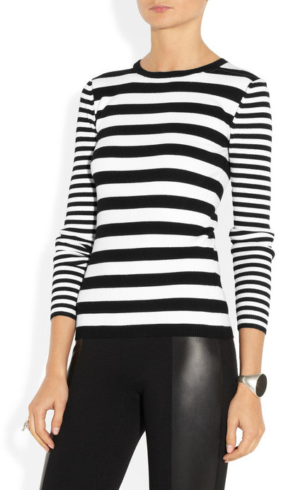 MICHAEL Michael Kors Striped ribbed knitted top
