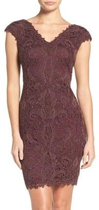 Women's Tadashi Shoji Corded Lace Tulle Sheath Dress $348 thestylecure.com