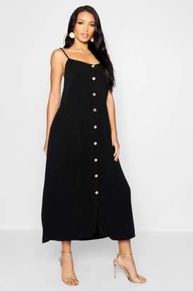 boohoo Horn Button Cami Midaxi Dress