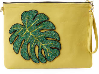 Tea & Tequila Monstera Leaf Chain Clutch Bag, Yellow