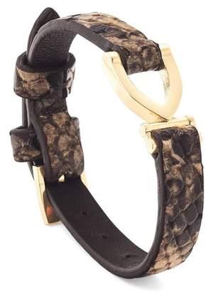 Aspinal of London Stirrup Bracelet In Tan Snake