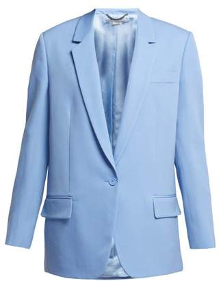 Stella McCartney Single Breasted Long Line Wool Blazer - Womens - Light Blue