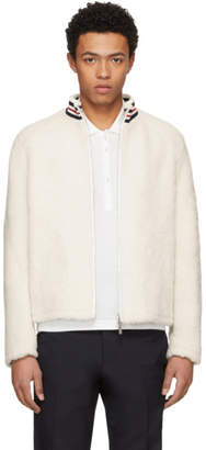 Thom Browne White Shearling Funnel Collar Golf Jacket