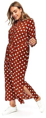 Evans Rust Spot Maxi Shirt Dress