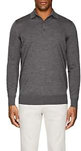 Loro Piana Men's Wish Virgin Wool Long-Sleeve Polo Shirt - Gray
