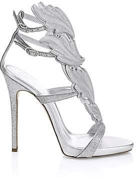 Giuseppe Zanotti Women's Glitter Leaf Strappy Stiletto Sandals