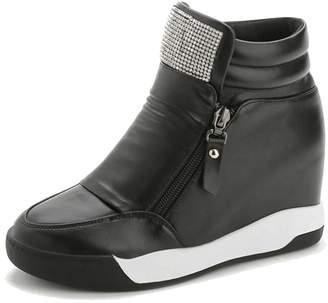 COVOYYAR Women's Shining Rhinestone Fashion Wedge Sneakers Hidden Heel Platform Shoes