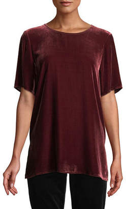 Eileen Fisher Short-Sleeve Velvet Box Top, Petite