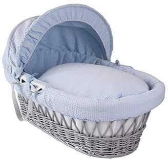 Clair De Lune Waffle Grey Wicker Moses Basket - Blue
