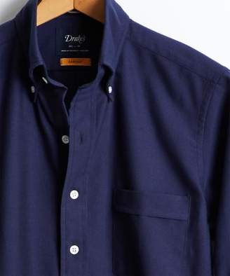 Drakes Drake's Solid Oxford Button Down Shirt in Navy