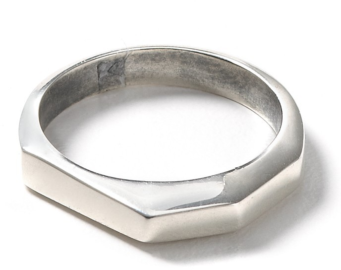 Elizabeth And James Silver Faceted Stacking Ring