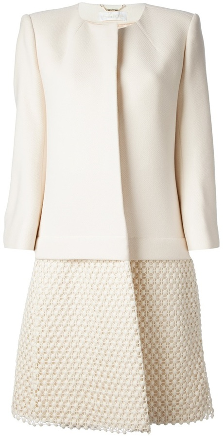 Chloé collarless embroidered coat