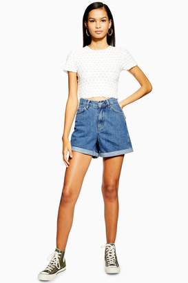 Topshop Denim Roll Hem Mom Shorts