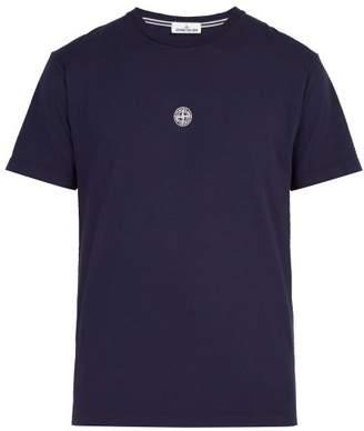 Stone Island Reflective Logo Cotton T Shirt - Mens - Navy
