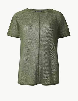 Marks and Spencer Sheer Round Neck Short Sleeve T-Shirt
