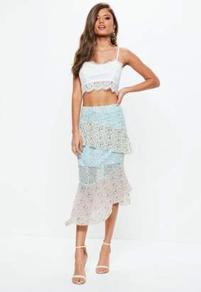 Missguided Blue Tiered Floral Midi Skirt