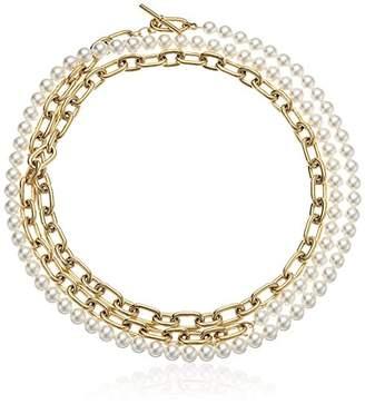 Michael Kors Fashion Pearl Links -Tone Choker Pendant Necklace