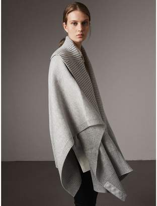 Burberry Shawl Collar Wool Cashmere Poncho