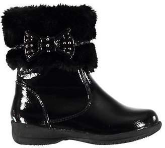 Miso Kids Girls Emily Fur Infant Boots Flat Ankle Zip Faux Trim Comfortable Fit