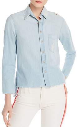 Mother The Foxy Distressed Denim Shirt