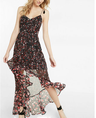 Express Floral Print Tie Shoulder Ruffle Maxi Dress $88 thestylecure.com