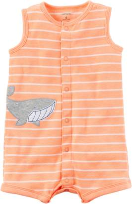 Carter's Baby Boys Snap-Up Cotton Romper Whale Print, White, 18M