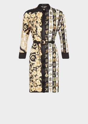 Versace Mixed Print Silk Twill Shirt Dress