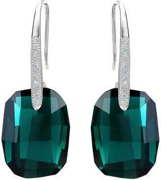Swarovski EleQueen 925 Sterling Silver CZ Rectangle Hook Drop Earrings Clear Aurora Borealis AB Adorned with Crystals