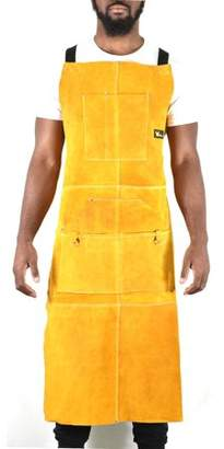 "G&F Leather Welding Apron Heat Flame Resistant Heavy Duty Work Apron with 6 Pockets, 42"" Long with back adjustable back and neck straps for Men & Women, color Brown"