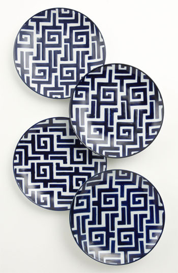 Hand-Painted Dessert 'Moroccan' Plates (Set of 4)