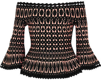 Herve Leger Off-the-shoulder Stretch Jacquard-knit Peplum Top - Black