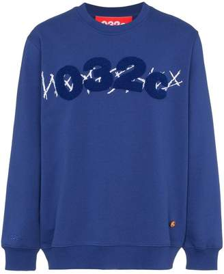 032c Blue cotton embroidered sweatshirt