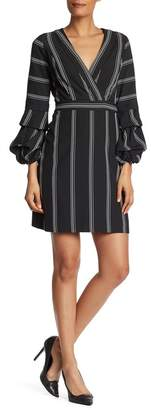 Laundry by Shelli Segal Surplice Neck Tiered Sleeve Dress