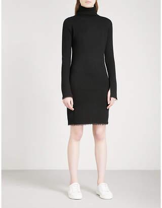 Mo&Co. Turtleneck ribbed-knit wool dress