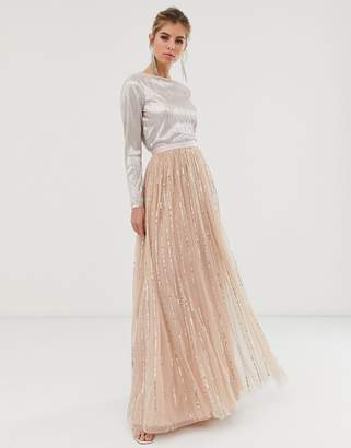 Needle & Thread shimmer sequin maxi skirt in rose