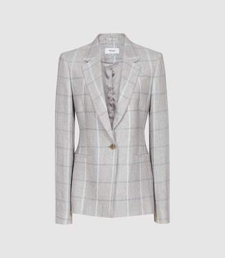 Reiss Willow Jacket - Checked Tailored Blazer in Grey