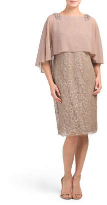 Embellished Dress With Chiffon Capelet