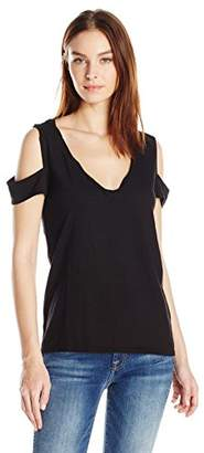 Pam & Gela Women's Vneck Cold Shoulder Tee