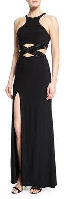 La Femme Sleeveless Crewneck Crisscross Gown, Black $398 thestylecure.com