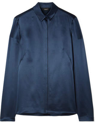 Akris Silk-satin Shirt - Navy