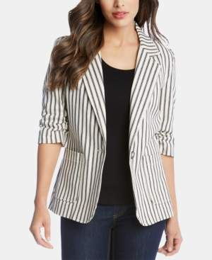 Karen Kane Striped Ruched-Sleeve Jacket