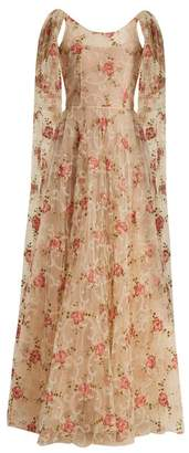 Luisa Beccaria - Scoop Neck Floral Embroidered Tulle Gown - Womens - Cream Multi