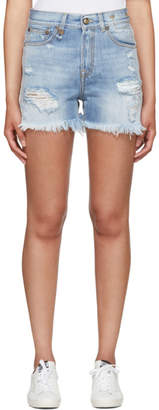 R 13 Blue Shredded Slouch Denim Shorts