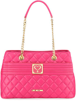 Love Moschino Quilted Napa Faux-Leather Crossbody Bag, Pink