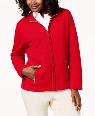 Karen Scott Petite Quilted Fleece Zip-Up Jacket, Created for Macy's