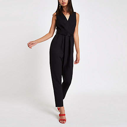 Womens Black sleeveless tie waist jumpsuit