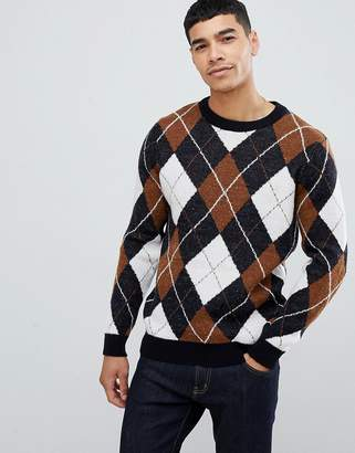 New Look argyle sweater with crew neck in navy