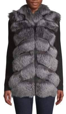 Natural Silver Fox Fur & Leather Vest