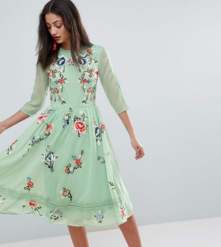 ASOS Tall ASOS TALL PREMIUM Midi Skater Dress with Floral Embroidery