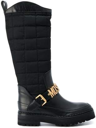 Moschino logo buckle boots
